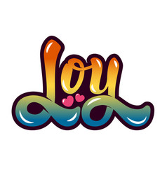 Joy hand drawn lettering isolated on white vector