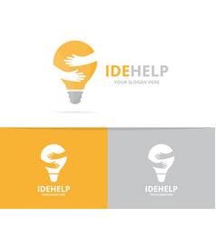 Lamp and hands logo combination lightbulb vector