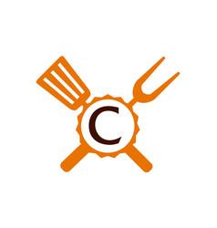 Logo restaurant letter c vector