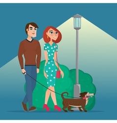 Man and woman walking with a dog creative color vector