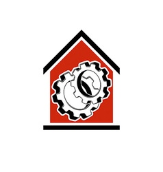 Manufactory conceptual symbol house with 3d cog vector