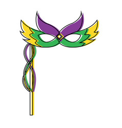 Mardi gras carnival face mask with feathers and vector