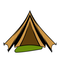 Military tent icon cartoon vector