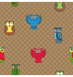 Multicolour owl seamless pattern vector image vector image