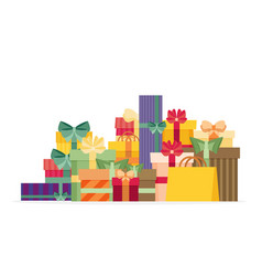 Pile colorful gift or present boxes with ribbon vector