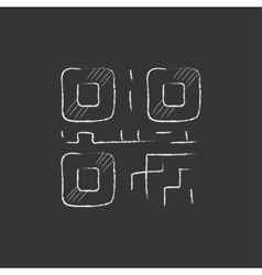 Qr code drawn in chalk icon vector