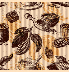 seamless pattern with cocoa fruits monochrome vector image