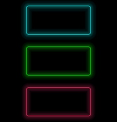 self-illuminated frames for text on black vector image vector image