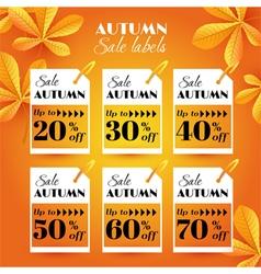 Set with autumn sale label vector
