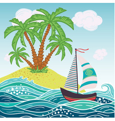 Ship sun tropical sea island with palm trees and vector