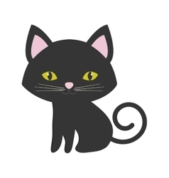 Small cat sitting pink ears green eyes vector