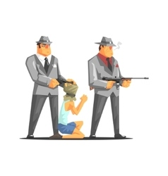 Two Mafia Criminals With Hostage vector image