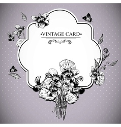Vintage floral card with violets and butterflies vector