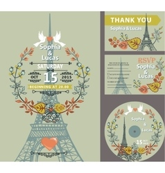 Wedding invitation seteiffel towerautumn leaves vector