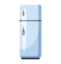 White refrigerator with separate freezer icon vector image
