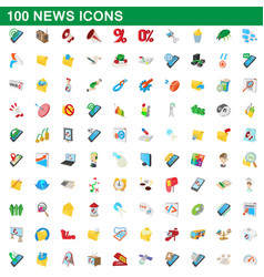 100 news icons set cartoon style vector