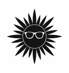 Sun in glasses icon simple style vector