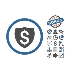 Financial shield flat icon with bonus vector