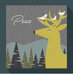 Retro greeting card winter scene deer and birds vector