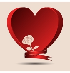 Red heart with a rose and a ribbon vector image