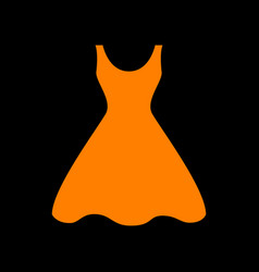 woman dress sign orange icon on black background vector image