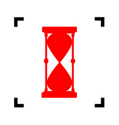 Hourglass sign   red icon vector