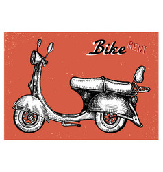 Retro scooter sign for bike rent vector