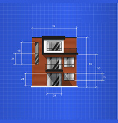 Architectural plan isolated on blue background vector