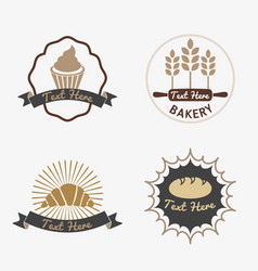 Collection of vintage retro bakery logo badges vector