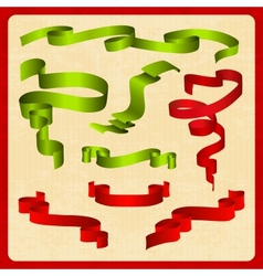 Set of green and red tapes vector