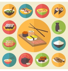 Sushi japanese cuisine food icons set flat design vector