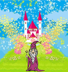 wizard uses magic in front of fairy-tale castle vector image