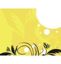 Yellow black floral vector