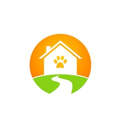 Pet house dog and cat logo vector