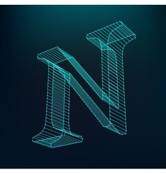 The letter n polygonal letter low poly model vector