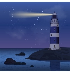 Lighthouse in night vector