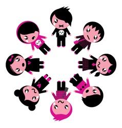 Emo kids circle vector