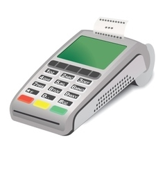 Pos terminal with printed reciept on white vector