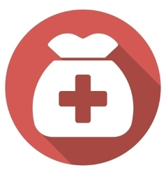 Medical capital flat round icon with long shadow vector