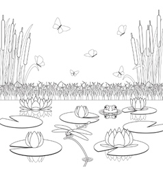 Coloring page with pond inhabitants and plants vector