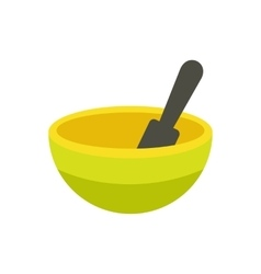 Yellow mortar and pestle flat icon vector