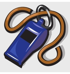 Blue classic referee whistle with rope vector image