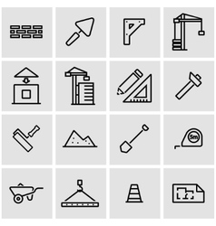 Line construction icon set vector