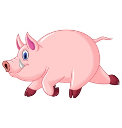 Funny pig cartoon run vector