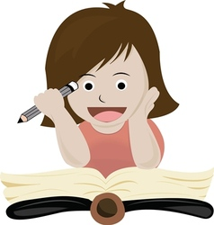 A girl read book vector image