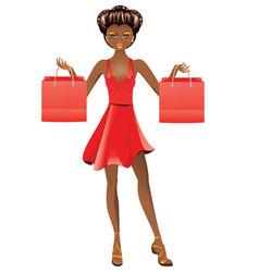 Afro american shopping girl vector