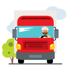 Arab truck driver flat style colorful vector