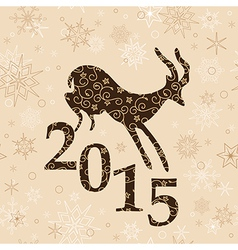 Beige christmas background with goat and 2015 vector