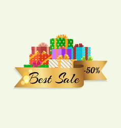 Best sale 50 off poster with gold ribbon gift box vector