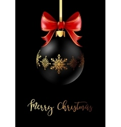 Black Christmas decoration ball with golden ribbon vector image vector image